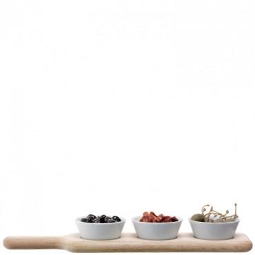 Service à olives Lotta avec base en frêne