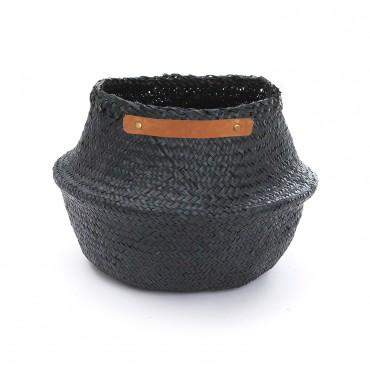 Panier boule avec poignées en cuir - Noir