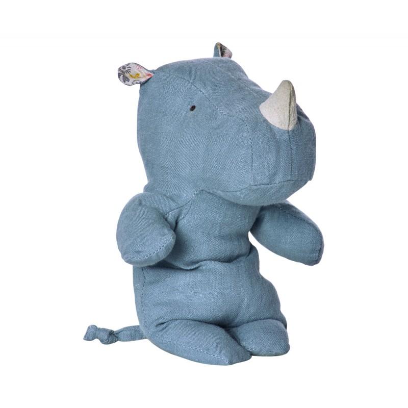 Doudou Rhino - Bleu (Small) - MAILEG - Perlin Paon Paon
