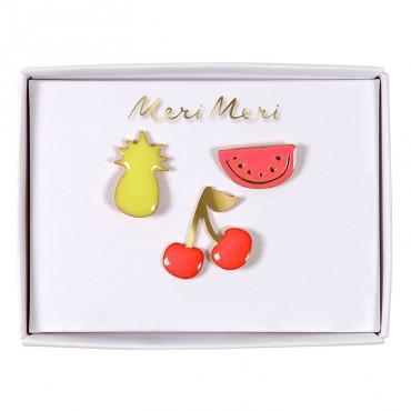 Set de 3 pin's en émail - Fruits