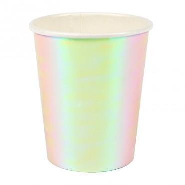 8 gobelets en carton - Reflets irisés