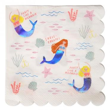 16 serviettes en papier - Sirène