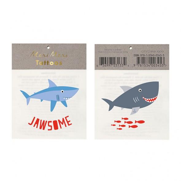 2 planches de tatouages éphémères - Requins