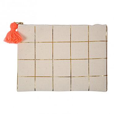 Pochette canvas - Quadrillage doré