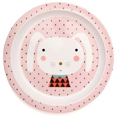 Assiette avec bord - Lapin rose