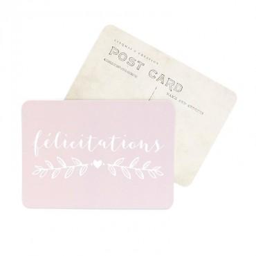 Carte Félicitations - Rose poudre