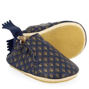 Chaussons Blublu Feuille - Encre / or