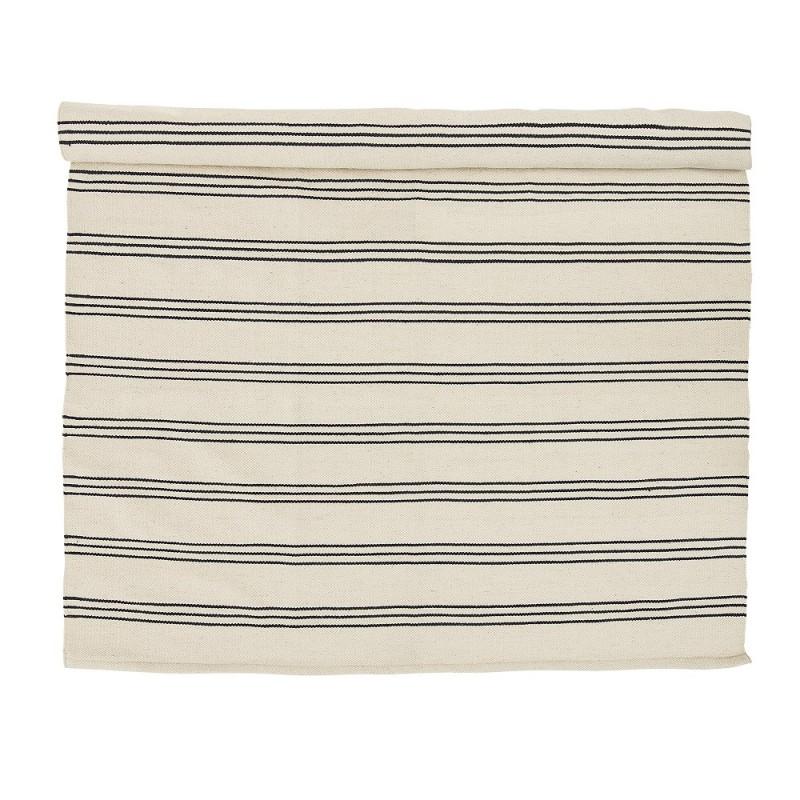 Tapis Raye Noir Blanc 240x140 Cm Bloomingville Perlin Paon