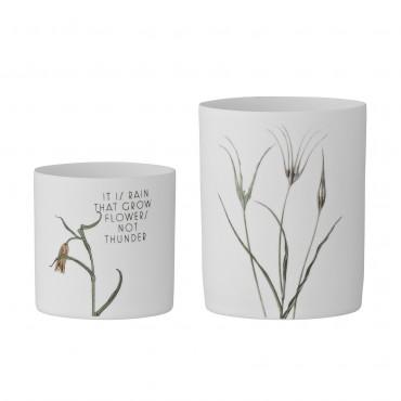 Set de 2 Photophore en porcelaine - Fleurs