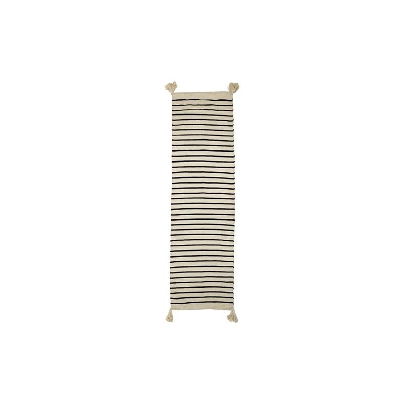 Tapis rayé avec pompons - Noir & blanc (240x70 cm) - BLOOMINGVILLE ...