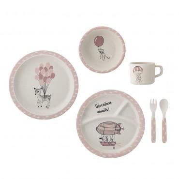 Set de vaisselle en bambou Amelia - Rose