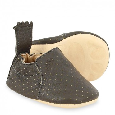 Chaussons Blumoo plumetis - Taupe / or