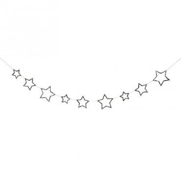 Guirlande d'étoiles - Argent pailleté
