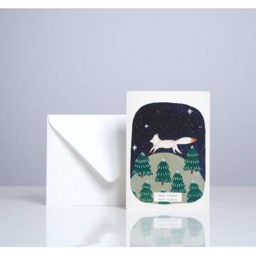 Carte double - Renard blanc
