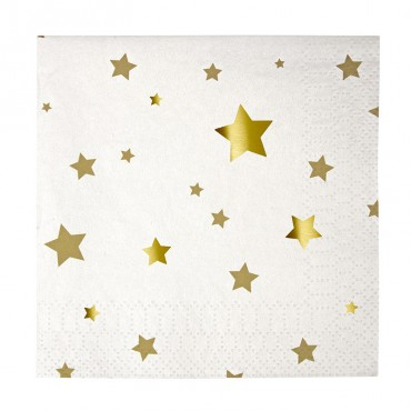 20 serviettes en papier - Etoiles dorées
