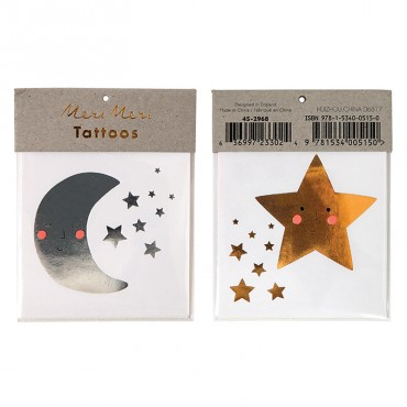 2 planches de tatouages éphémères - Etoiles et lunes