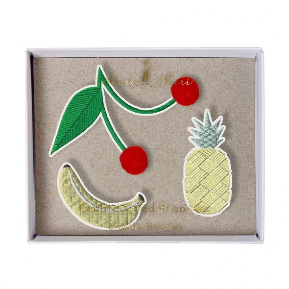 Set de 3 broches brodées - Fruits