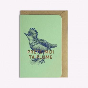 Carte Prête-moi ta plume - Vert menthe