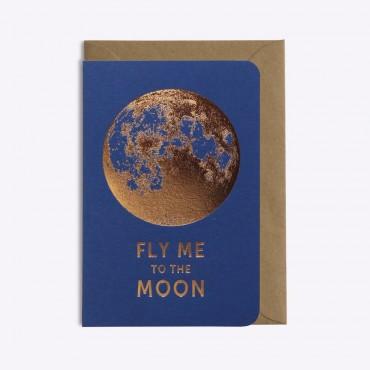 Carte Fly me to the Moon - Bleu saphir
