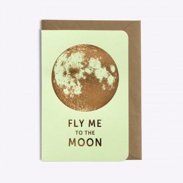 Carte Fly me to the Moon - Vert pistache