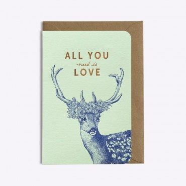 Carte All you Need is Love - Vert d'eau