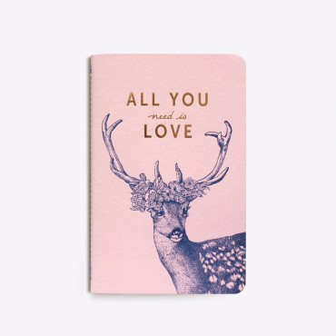 Carnet cousu All you Need is Love - Rose