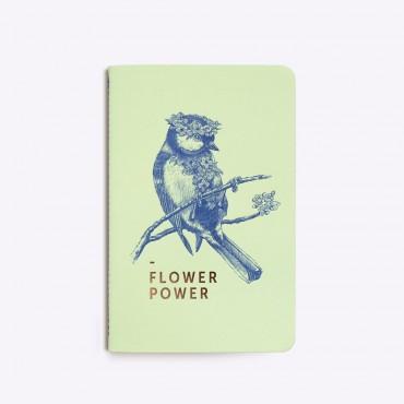 Carnet cousu Flower Power - Vert pistache
