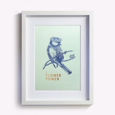 Affiche Flower Power - Vert d'eau