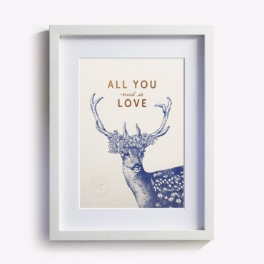 Affiche All you need is Love - Blanc rose