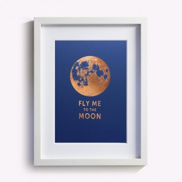 Affiche Fly me to the Moon - Bleu saphir
