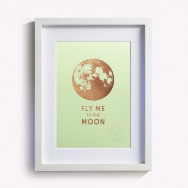 Affiche Fly me to the Moon - Vert pistache