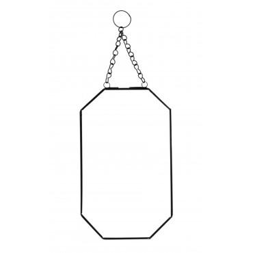 Miroir octogonal à suspendre - Noir