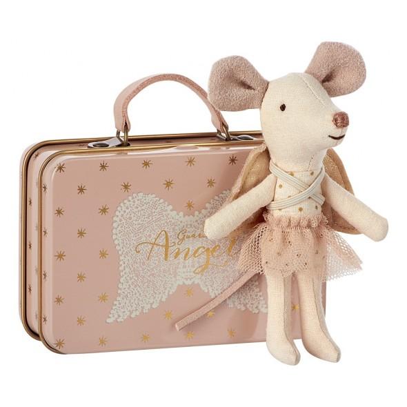Petite souris Ange avec sa petite valise