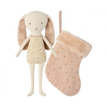 Poupée lapin ange dans une chaussette - Rose poudre
