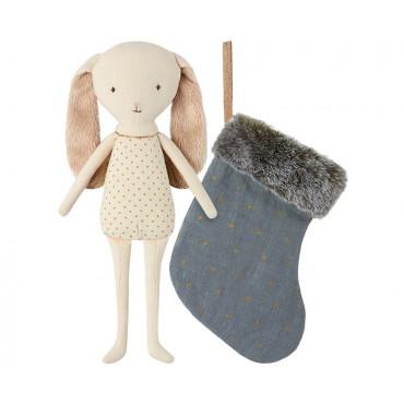 Poupée lapin ange dans une chaussette - Bleu