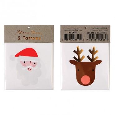 2 planches de tatouages éphémères - Santa Reindeer