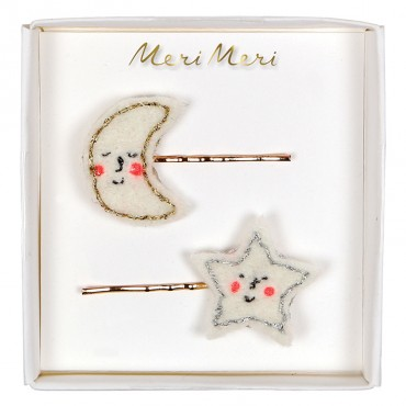 2 barrettes - Moon & Star
