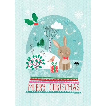 Carte postale Merry Christmas - Snow Bunny