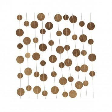 Guirlande décorative en papier - Cercles dorés