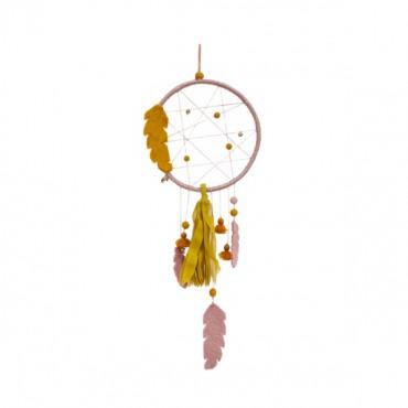 Attrape-rêves en feutre - Harmonie pollen / quartz rose
