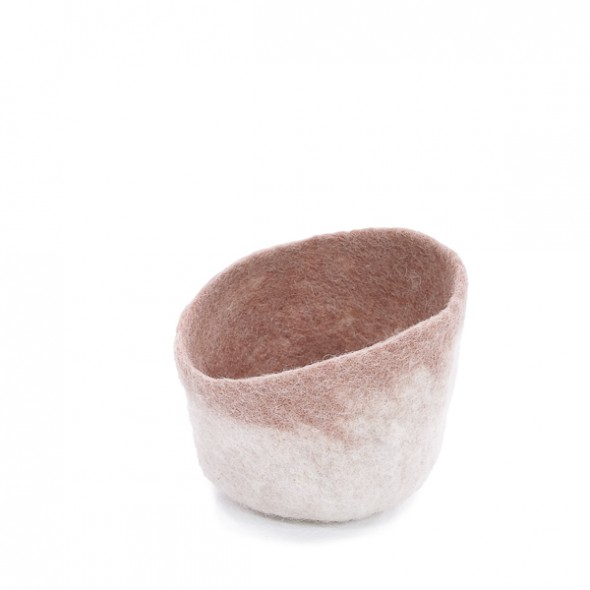 Bol forme goutte feutre bicolore / naturel - rose quartz