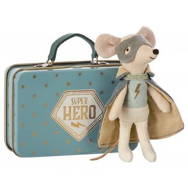 Petite souris Super Héros avec sa petite valise