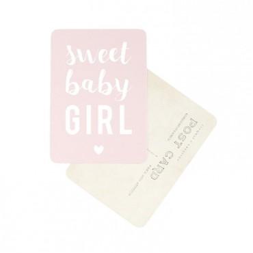 Carte Sweet Baby Girl - Rose poudre