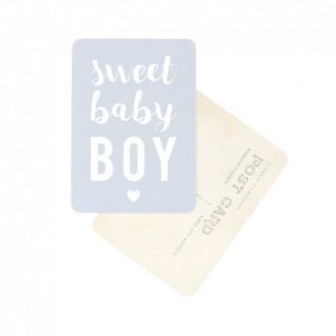 Carte Sweet Baby Boy - Gris bleu