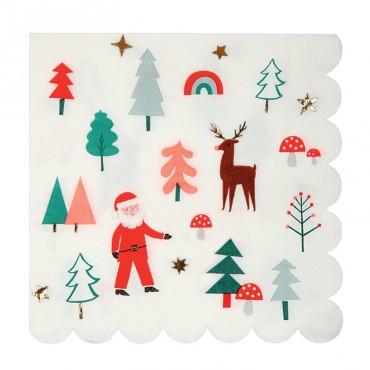 16 grandes serviettes en papier - Noël