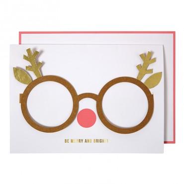 Carte Noël - Lunettes Renne