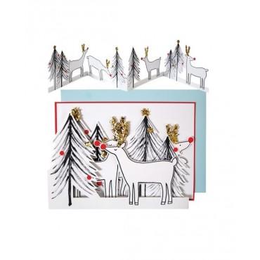 Carte Noël - Rennes et sapins