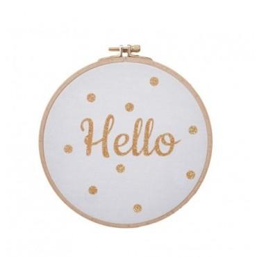 Cadre message Hello - Blanc & doré