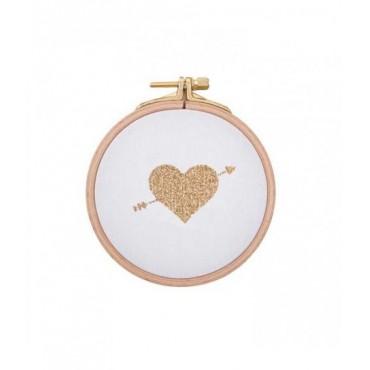 Petit cadre Coeur fléché - Blanc & doré