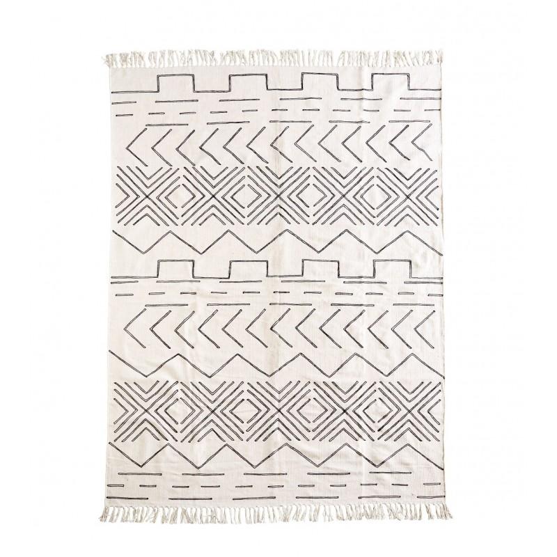 tapis coton blanc cass noir 160x230 madam stoltz. Black Bedroom Furniture Sets. Home Design Ideas